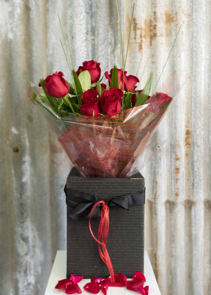 12 Red Rose bouquet presented in box
